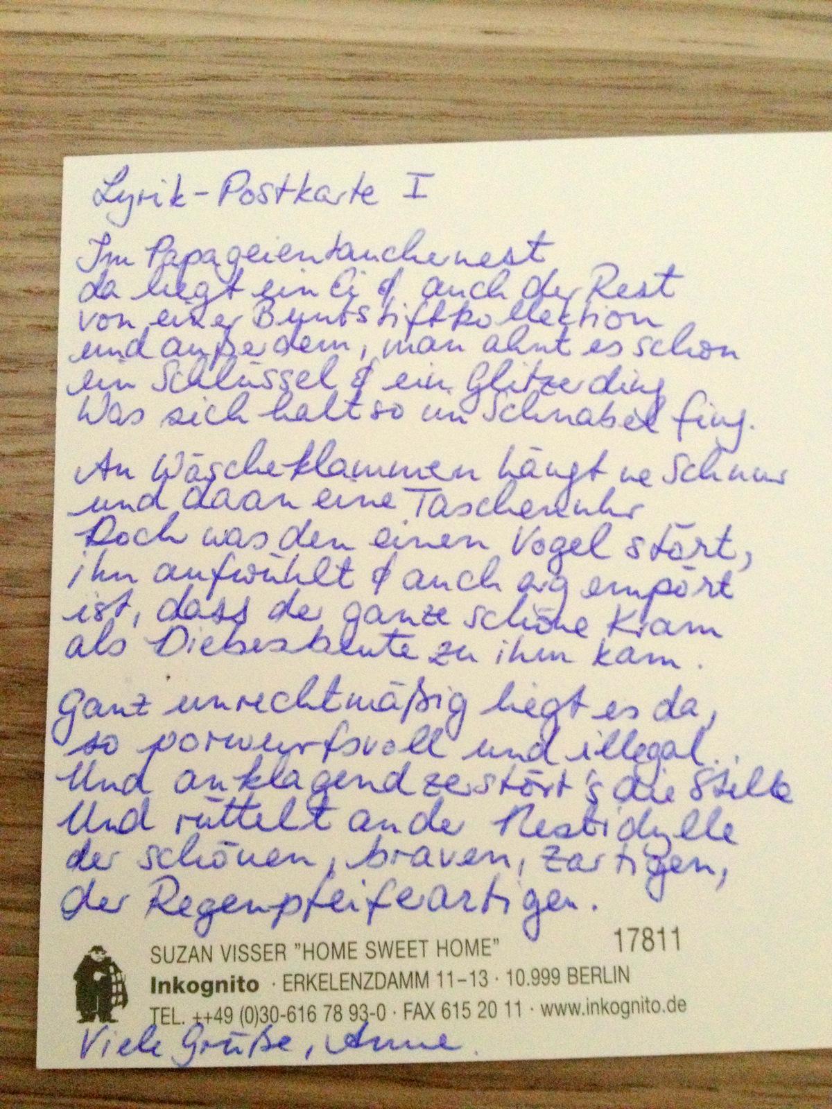 Ein Gedicht Ein Gedicht Lyrikpostkarte No 1 Ach Komm
